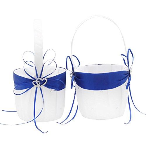 2Strand Hochzeit Blumenmädchen Korb Weiß und Royal Blau Blume Korb mit doppelter Herz Strass Decor
