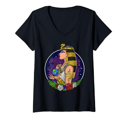 Mujer Reina egipcia Cleopatra Ankh Mitología Antiguo Egipto Camiseta Cuello V