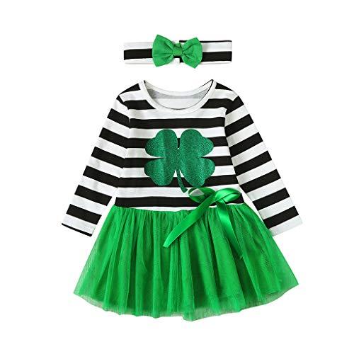 Baby Meisje St.Patrick's Day Kostuum Set 2 Stks Peuter Kids Gestreepte Tule Prinses Jurken Hoofdband Kleding Outfits voor zuigelingen Lange Mouw Ierse Patchwork Suspender Rok Jurk 0-4 Jaar