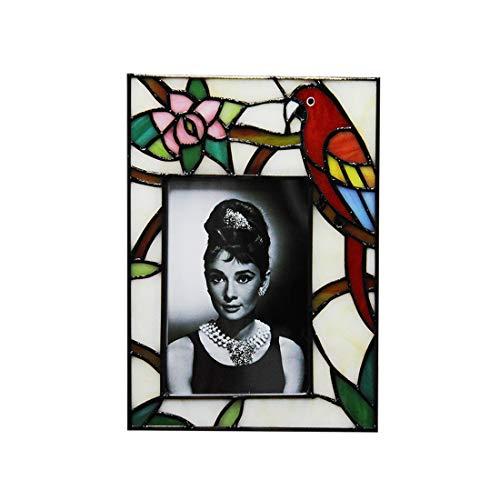 Makenier Bilderrahmen im Tiffany-Stil, Buntglas, 10 x 15 cm, Rot Vertical Design: 6.3