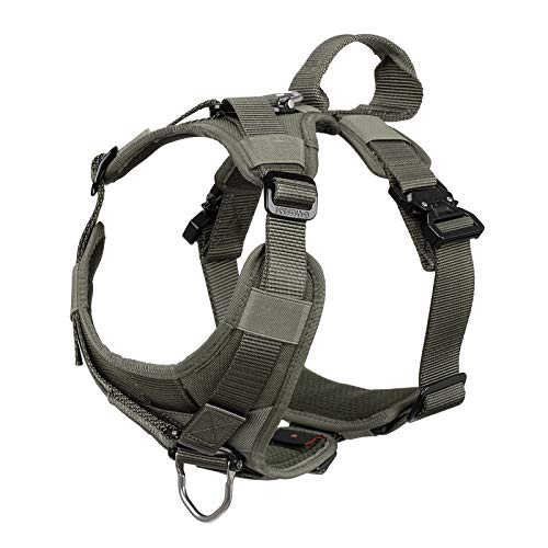 ICEFANG Tactical Dog Strap Harness (Full Metal Clip ) ,Pet Vest with Handle,5 Point Adjustable,Y-Shape Chest ,No-Pull Front Clip for Walking Training (XL (Neck:20
