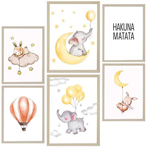 Mr. Castle Laminas Decorativas para enmarcar Cuadros de Pared. Estilo Infantil. Grandes 30 x 40cm y 20 x 30cm. Posters decoración del hogar, Cuarto de bebé (Elefantes)