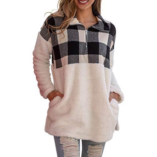 OverDose Sudadera De Felpa Esponjoso para Mujer Pullover Outwear Shirt Sudaderas De Mujer Abrigo Mujer Largo Lana Top Deportivo De Felpa Chaqueta Camisa A Cuadros Blusa