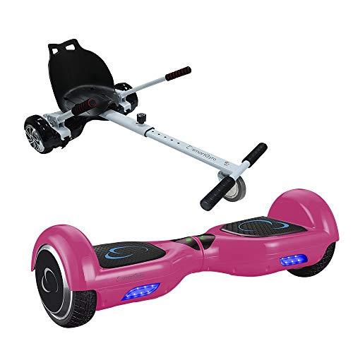 Pack SmartGyro X1s Pink + Go Kart, Ruedas 6.5 pulgadas, Batería de Litio, Estructura de Kart Resistente y Cómoda, Silla más Patinete Eléctrico