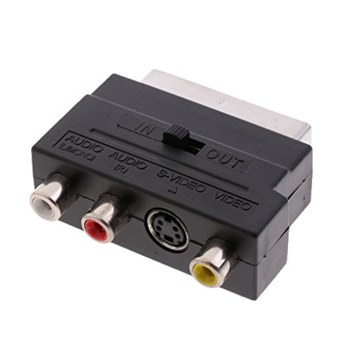 B Blesiya Euroconector a RCA Compuesto SVHS S-Video AV TV Cable de Audio Adaptador SCART a 3 RCA