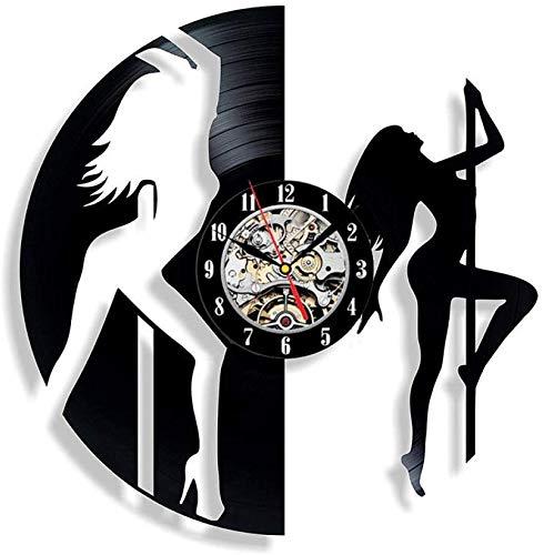 Wandklok, stil, vintage, lichten, horloges, dansen, band, fitness, dames, sport, vorm, dansers, vinyl, wandklokken, discotheek, decoratie