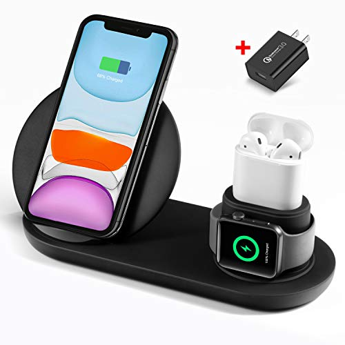 Wireless Charger 3 in 1 Charging Station for Apple Watch and Airpods Qi Fast Wireless Charging Stand Compatible iPhone 11/11 Pro/X/XS/XR/Xs Max/8 Plus Compatible Apple Watch Series 5/4/3/2/1