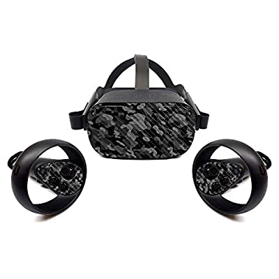 MightySkins Carbon Fiber Skin for Oculus Quest - Black Camo | Protective, Durable Textured Carbon Fiber Finish | Easy to Apply, Remove, and Change Styles | Made in The USA (CF-OCQU-Black Camo) by MightySkins