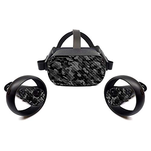 MightySkins Carbon Fiber Skin for Oculus Quest - Black Camo | Protective, Durable Textured Carbon Fiber Finish | Easy to Apply, Remove, and Change Styles | Made in The USA (CF-OCQU-Black Camo)
