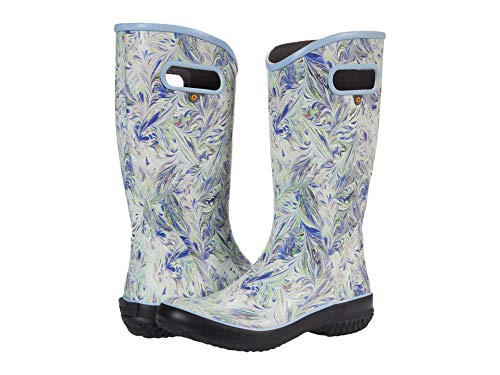 Bogs Women's Rainboot Rain Boot, Marble Print-Periwinkle, 6