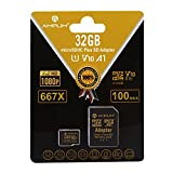 Amplim 32GB Micro SD Card, MicroSD Memory Plus Adapter, MicroSDHC U1 Class 10 V10 UHS-I TF Extreme High Speed Nintendo-Switch, GoPro Hero, Surface, Raspberry Pi, Phone Galaxy, Camera Cam, Tablet, PC