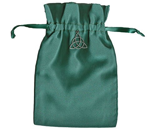 Quixotic Creations Tarot Rune Gift Bag with Irish Celtic Knot Triquetra Charm Forest Green Satin 5 inch x 8 inch