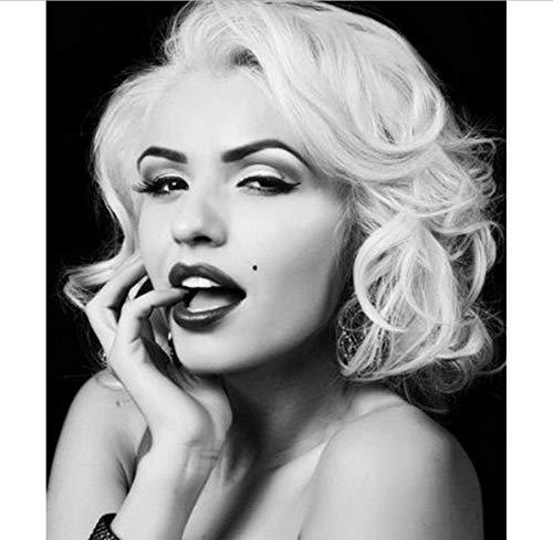 NOVELOVE Wandkunst Bild Marilyn Monroe Schwarz Weiß Klassische Porträt Poster Drucken Leinwand Gemälde Ohne Rahmen 50 * 70 cm