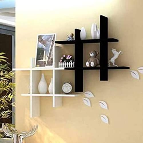 Unique Wooden Handicrafts Wooden MDF Medium Density Fiber Home Decoration Wall Rack Shelves Floating Shelf 4 x 16 x 16 Inches Black and White Set of 2