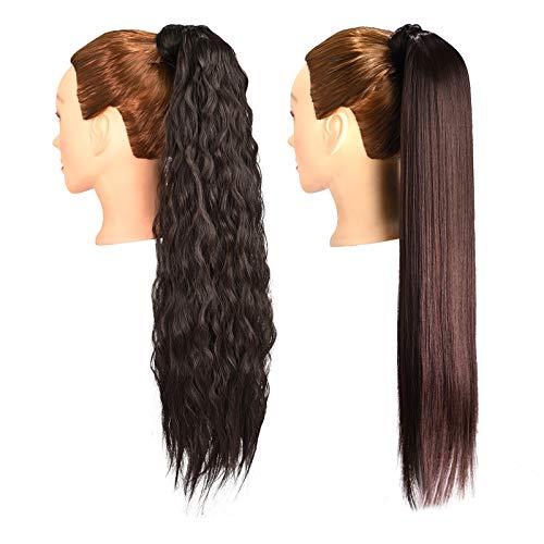 2 Stück 24 Zoll lang Dunkelbraun Gerade und Lockig Pferdeschwanz Haarverlängerung Wickeln Sie Pferdeschwanzverlängerungen Synthetischer Clip in Pferdeschwanz Haarverlängerungen Haarteil für Frauen