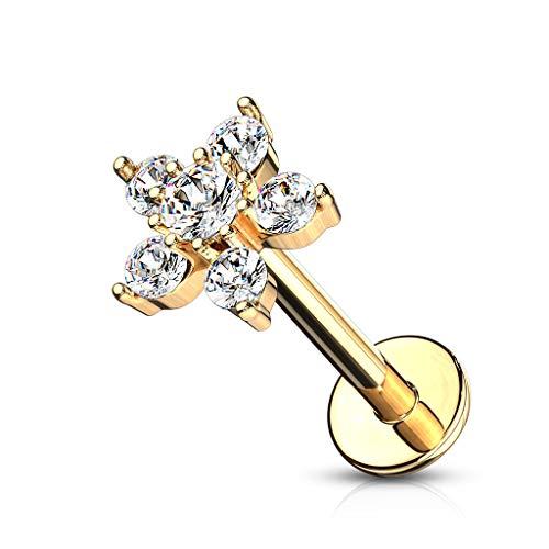 BlackAmazement Orecchini a labret Monroe trago Helix in acciaio inox 316L con fiore e zirconi CZ, argento, oro rosa, rosa, verde e Acciaio inossidabile, cod. -