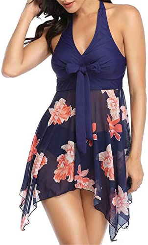 Womens Tankini Swimsuits with Shorts Halter Swimdress Floral 2 Piece Swimwear Navy M product image