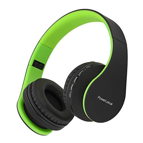 PowerLocus P1 – Auriculares Bluetooth inalambricos de Diadema Cascos Plegables, Casco Bluetooth con Sonido Estéreo con Conexión a Bluetooth Inalámbrico y Cable para Movil, PC, Tablet - Negro/Verde