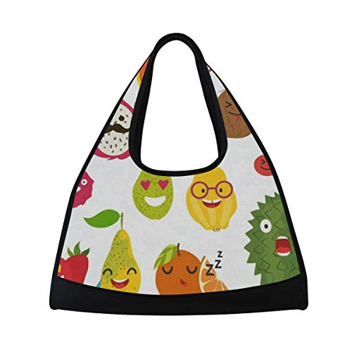 Gym Bag, Sports Duffle Bag Cartoon Durian Pineapple Dragon Fruit Training Handbag Large Travel Shoulder Tote Bag Tennis Badminton Racket Bag for Men Women