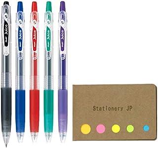Pilot Juice 05 Retractable Gel Ink Pen, Extra Fine Point, 0.5mm, 5 Color Ink, Sticky Notes Value Set