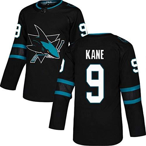 Kane # 9 Sharks Eishockey Trikot Herren Langarm T-Shirt Puck Sportswear Spiel Team Hockey Training Wear S-3XL-black-L