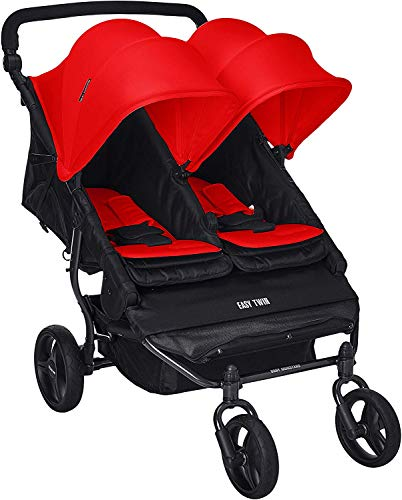 Buy Baby Monster Easy Twin 2.0 Double Stroller with Rain Cover and Front Bar for Twins or Sibling