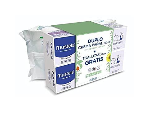 Crema balsámica/reparadora para el cambio de pañal. MUSTELA. Pack especial compuesto por 2 tubos de 100 ml+toallias de regalo