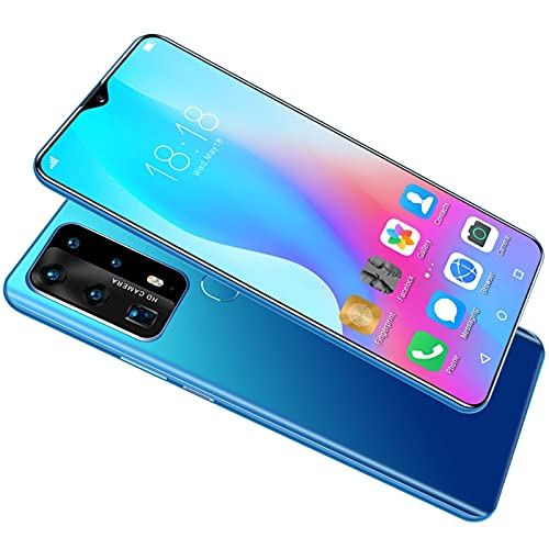Smart Unlocked Cell Phones ,Game Photo Phone,18M+32M,6.8-Inch HD, Face Fingerprint Recognition, RAM4G 128G, Support 3G 4G Network, WiFi+BT+FM+GPS+Dual Card+TF, Android (Color : Blue)