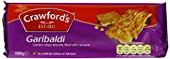 Case of twelve, 100 grams each Crawfords Garibaldi biscuit is a crisp thin biscuit with currants. Product of the UK Ships in Certified Frustration-Free Packaging