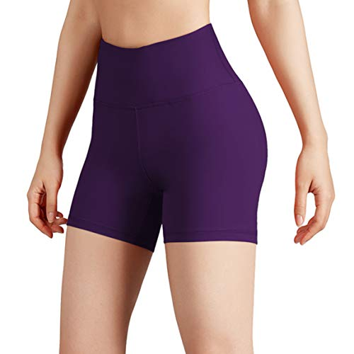 ODODOS Women's Yoga Short Tummy Control Workout Running Athletic Non See-Through Yoga Shorts with Hidden Pocket,DeepPurple,XX-Large