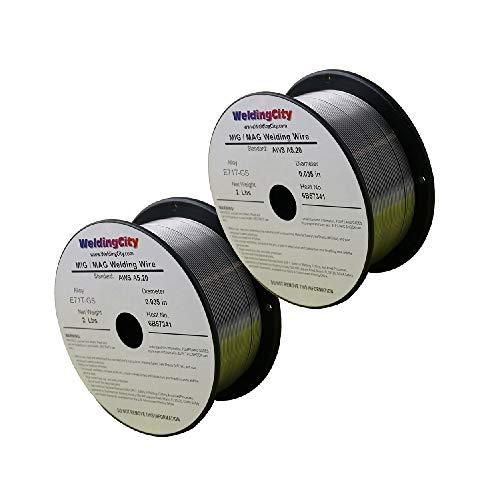 WeldingCity 2 Rolls E71T-GS Gasless Flux-Cored Mild Steel MIG Welding Wire 0.030' (0.8mm) 2-lb Spool | Pack of 2 Rolls