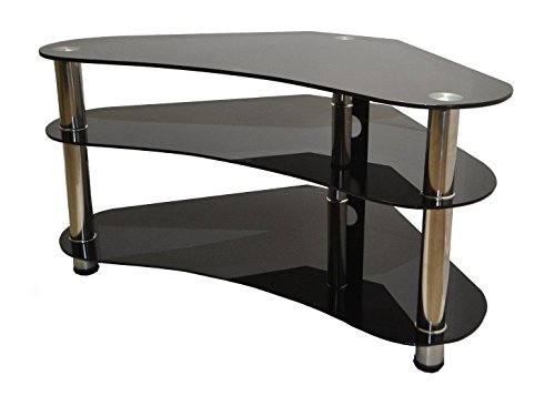 """MountRight Curved Corner TV Stand For Up To 42"""" LED, LCD & Plasma Screen - Black Glass/Silver Legs"""