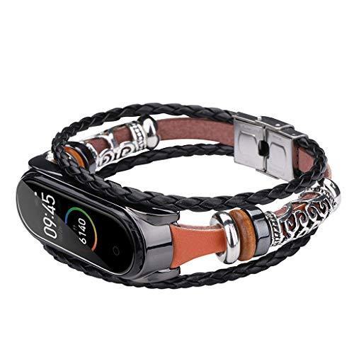 Leiouser - Pulsera de cuerda trenzada vintage con hebilla de metal para reloj compatible con Xiao-mi Mi Band 4/3