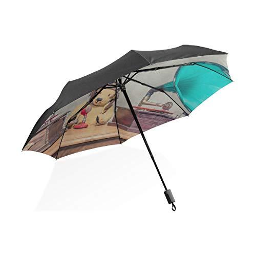 Regenschirm Hut Für Kinder Altes Grammophon Mit Horn Lautsprecher Tragbare Kompakte Taschenschirm Anti Uv Schutz Winddicht Outdoor Reise Frauen Regenschirm Kinder