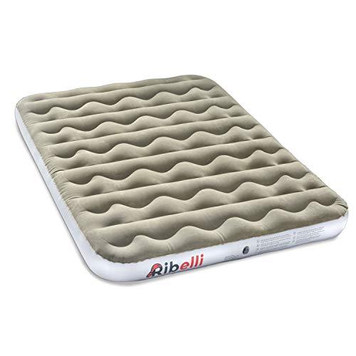 Ribelli Luftbett Gästebett + Handpumpe Luftmatratze grau/weiß PVC Beflockung 203 x 152 cm