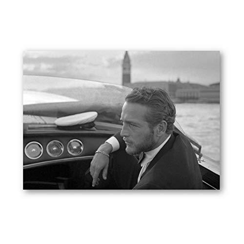 Paul Newman Fotografía en blanco y negro Clásico Estrella de cine Foto Arte Lienzo Pintura Cartel de la moda vintage Decoración de la pared del hogar-50x70cm Sin marco