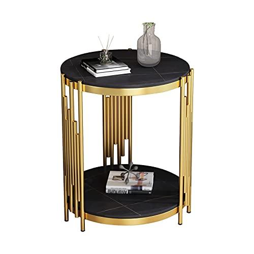 Diseño Moderno y Sencillo Mesa a lado redonda, con mesa de centro redonda de 2 capas, mesa de aperitivos para uso exterior o interior, mesa de café de pizarra metálica (dorado negro) Fácil de Montar