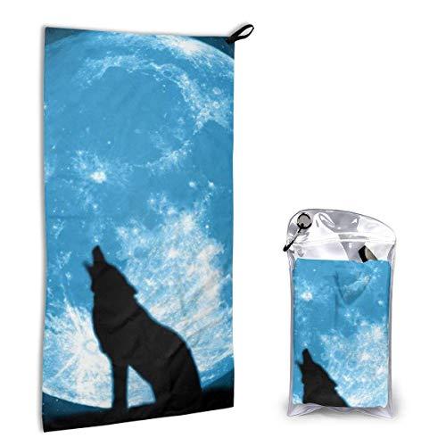 Toallas de Playa de Secado rápido Moon Night Sky Star Shadow Wolf,Toallas de Playa sin Arena Toalla de baño portátil Toalla de Playa de Viaje,Toalla de Deportes de natación
