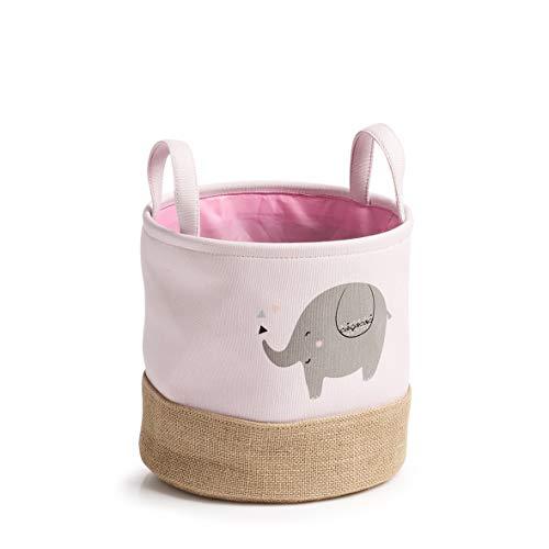 Zeller 14276 Elefant - Cesta de almacenaje (poliéster, 25 x 25 cm, 25 x 25 cm), diseño de elefante, color rosa