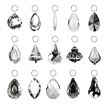 SunAngel Clear Jewelry Crystals Pendants &Chandelier Lamp Lighting Drops Prisms Hanging Glass Prisms Parts Suncatchers Prisms Hanging Ornaments for Home,Office,Garden Decoration 15 Packs