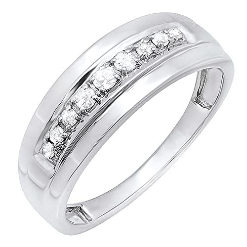 Dazzlingrock Collection 0.23 Carat (ctw) Round Nine White Diamond Mens Groom Traditional Wedding Anniversary Band 1/4 CT | 925 Sterling Silver, Size 10