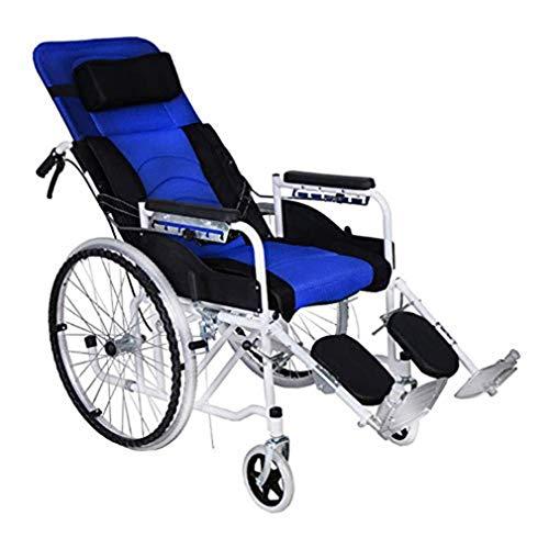 Silla de transporte obesidad con freno de mano plegable, silla de ruedas de alta resistencia de aleación de aluminio plegable reclinable con cinturón de seguridad y la bolsa de almacenamiento, Blue