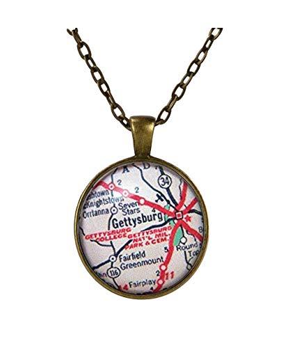 Un poco amor personalizado mapa joya, Gettysburg College Pennsylvania, colgante de mapa vintage, collar con colgante de mapa