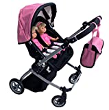 Babyboo Luxury Leather Look Twin Doll Pram Foldable Double Doll Stroller with Basket, Convertible Seat, Adjustable Handle, Swiveling Wheels, and Free Carriage Bag (Multi Function) - 9651A Pink