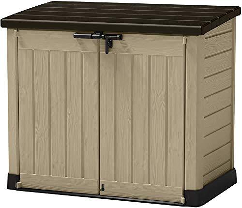 Multifunktionale Aufbewahrungsbox für den Außenbereich, 240 l, Mülltonnenbox mit Rollen, Kunststoff, Gartenschuppen, 145,5 x 82 x 125 cm, Gartenaufbewahrung