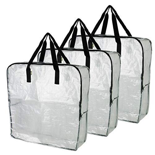 4XIKEA DIMPA 3 stks Extra grote opbergtas, Clear Heavy Duty Tassen, Moth and Moisture Protection Opbergtassen