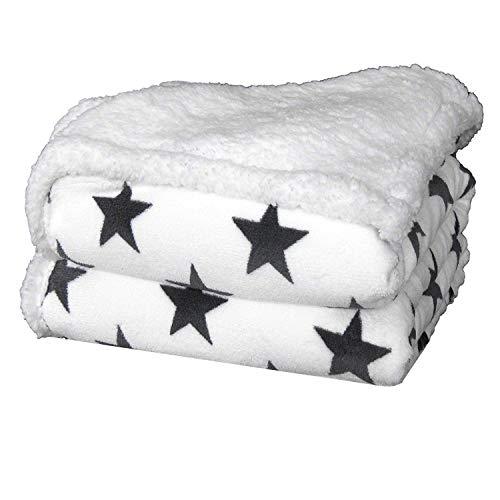 Delindo Lifestyle® Wohndecke VARIUS Sterne WEIß, Microfaser Coral-Fleece-Decke in 150x200 cm, flauschig weiche Kuscheldecke mit Lammfelloptik für Erwachsene und Kinder