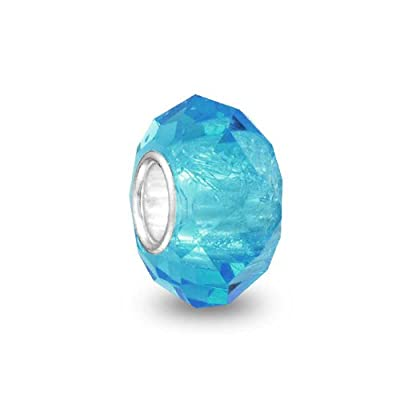 Translucent Solid Color Murano Faceted Glass Charm Bead For Women For Teen 925 Sterling Silver Core More Colors