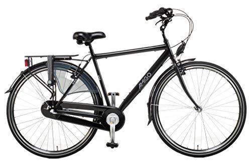 Amigo Bright - Cityräder für Herren - Herrenfahrrad 28 Zoll - Geeignet ab 175-185 cm - Shimano 3 Gang-Schaltung - Citybike mit Handbremse, Rücktritt, Beleuchtung und fahrradständer - Schwarz