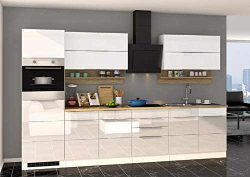lifestyle4living - Bloque de Cocina con electrodomésticos (320 cm, Madera de Roble), Color Blanco Brillante